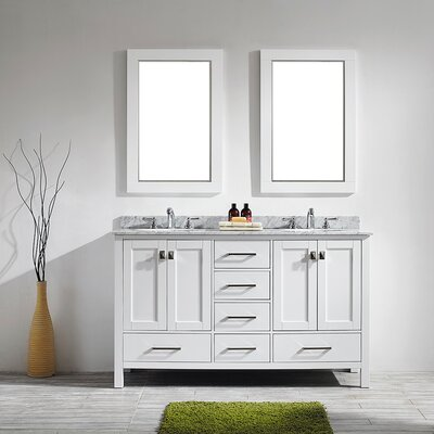 Rosalinda 60 Double Vanity Set with Mirror Base Finish: White
