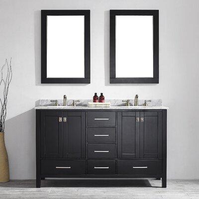 Rosalinda 60 Double Vanity Set with Mirror Base Finish: Espresso