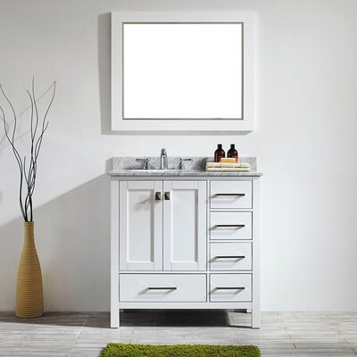 Rosalinda 36 Single Vanity Set with Mirror Base Finish: White