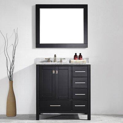 Rosalinda 36 Single Vanity Set with Mirror Base Finish: Black