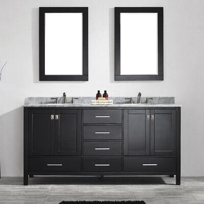 Newtown 72 Double Vanity Set with Mirror Base Finish: Black