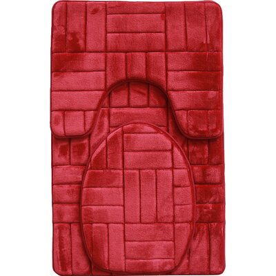 Clare 3 Piece Flannel Bath Rug Set Color: Burgundy