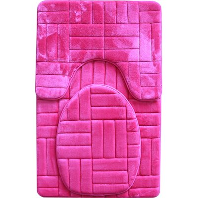 Clare 3 Piece Flannel Bath Rug Set Color: Fuchsia