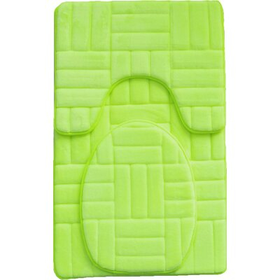 Clare 3 Piece Flannel Bath Rug Set Color: Lime Green