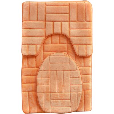 Clare 3 Piece Flannel Bath Rug Set Color: Orange