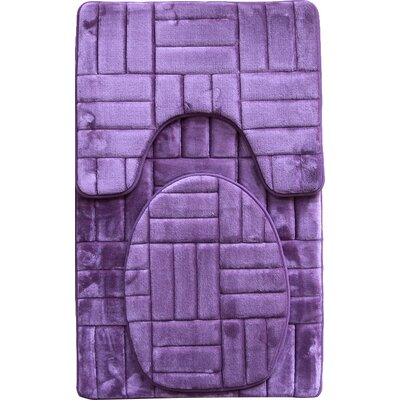 Clare 3 Piece Flannel Bath Rug Set Color: Purple