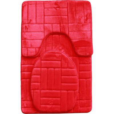 Clare 3 Piece Flannel Bath Rug Set Color: Red