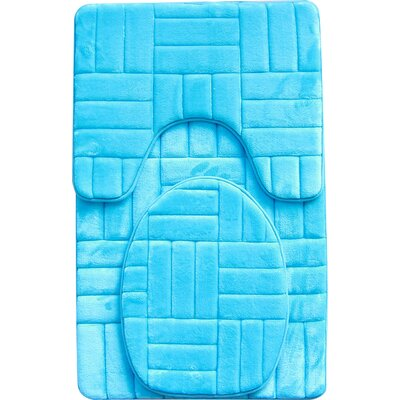 Clare 3 Piece Flannel Bath Rug Set Color: Turquoise