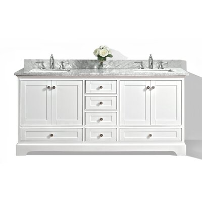 Michael 72 Bath Vanity Set with Italian Carrara White Marble Vanity Top