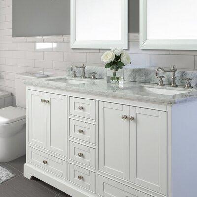 60 Double Bath Vanity Set Base Finish: White