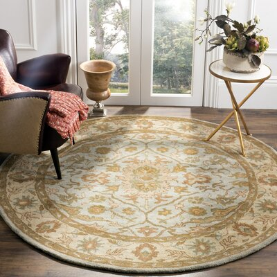 Heritage Tufted Wool Light Blue/Ivory Area Rug Rug Size: Round 6'