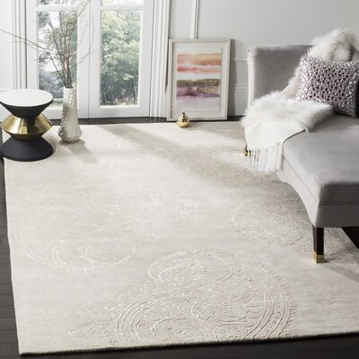 Shillington Hand-Tufted Silver/Beige Area Rug Rug Size: Rectangle 6 x 9