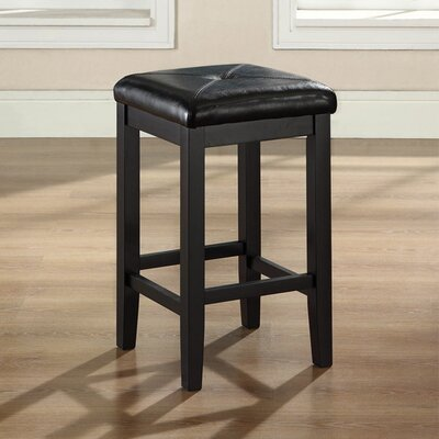 Honor 24 inch Bar Stool with Cushion Finish: Black