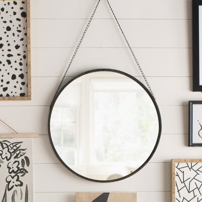Round Metal Mirror with Black Chain Hanger Size: 17.5 H