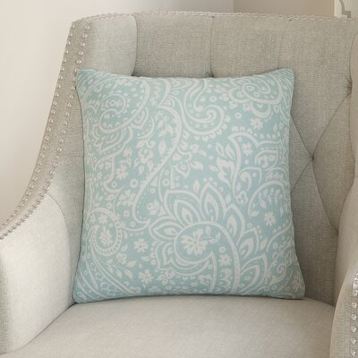 Hoyleton Cotton Throw Pillow Size: 20 H x 20 W x 4 D, Color: Sea Foam/Ivory