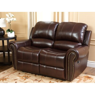 Darby Home Co DBYH1650 Barnsdale Leather Reclining Loveseat