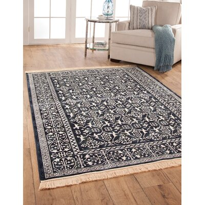 Beecroft Navy/White Area Rug Rug Size: 53 x 76