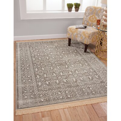 Beecroft Silver-Grey/White Area Rug Rug Size: 53 x 76