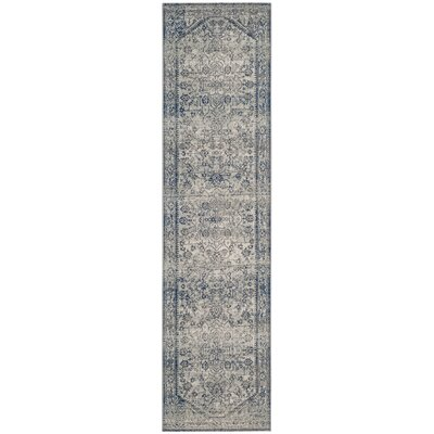 Harwood Cotton Silver/Blue Area Rug Rug Size: Runner 22 x 12