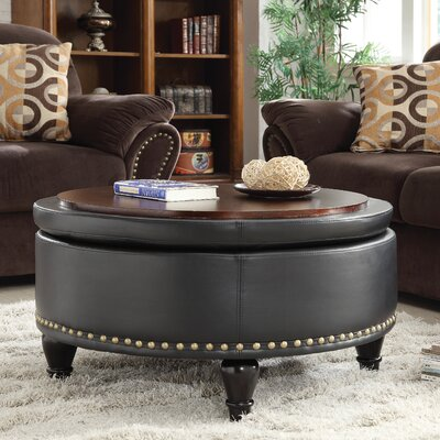 Ellen Bonded Leather Storage Ottoman Upholstery: Black