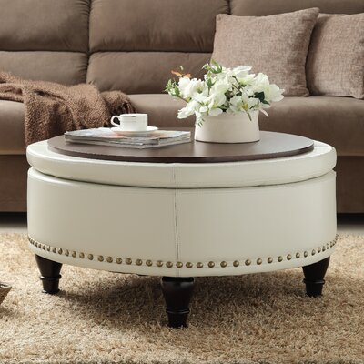 Ellen Bonded Leather Storage Ottoman Upholstery: Cream