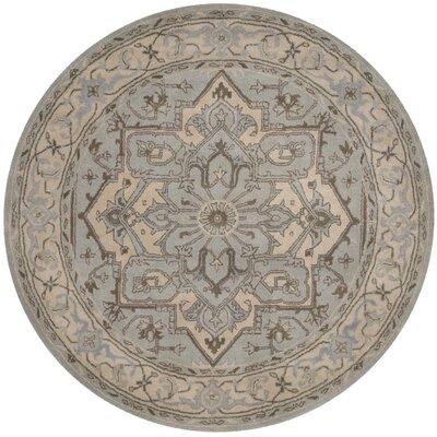 Meriden Beige/Grey Oriental Area Rug Rug Size: 6' Round