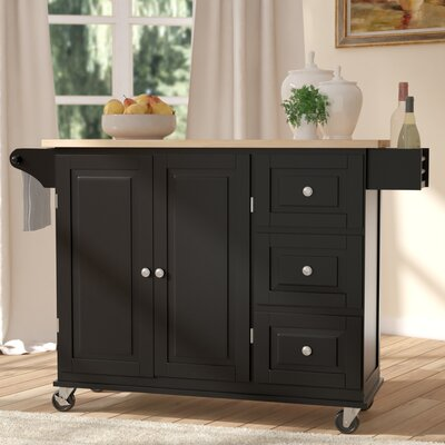 Arpdale Kitchen Island with Wood Top Base Finish: Black