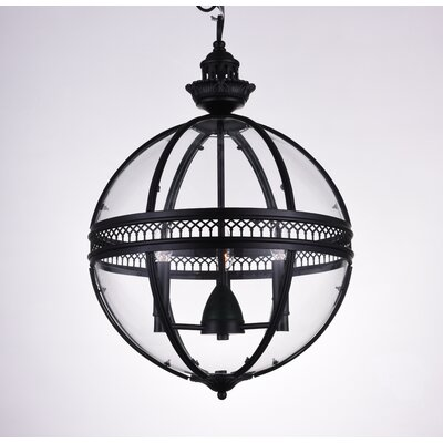 Reggie 3-Light Globe Pendant Finish: Black