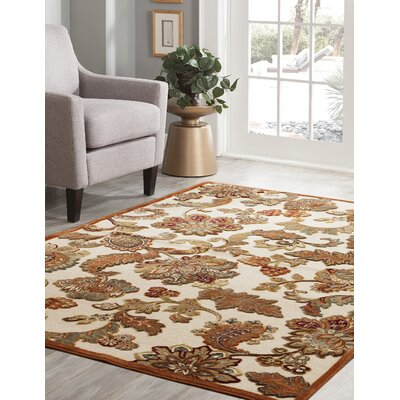 Louisa Ivory/Brown/Tan/Sage Area Rug Rug Size: 53 x 76