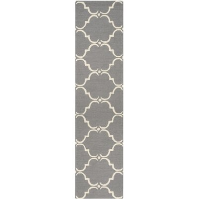 Cambridge Tufted Wool Dark Gray/Ivory Area Rug Rug Size: Runner 26 x 10