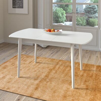 Wallace Extendable Solid Wood Dining Table Finish: White
