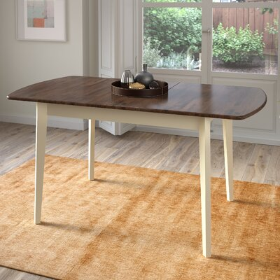 Wallace Extendable Solid Wood Dining Table Finish: Dark Brown/Cream