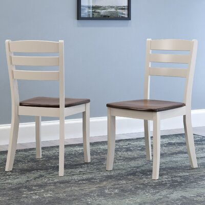Liggett Contemporary Solid Wood Dining Chair Finish: Dark Brown/Cream