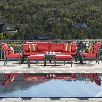 Portsmouth 7 Piece Deep Seating Group with Cushion Fabric: Cantina Red