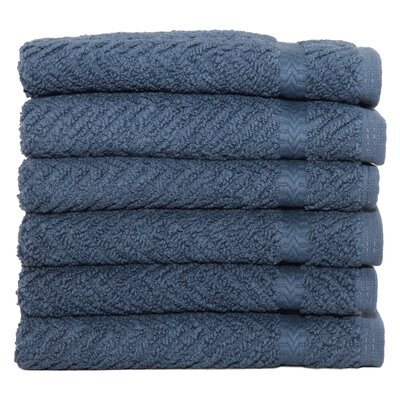 Herringbone Weave 100% Turkish Cotton Wash Cloth Color: Midnight Blue