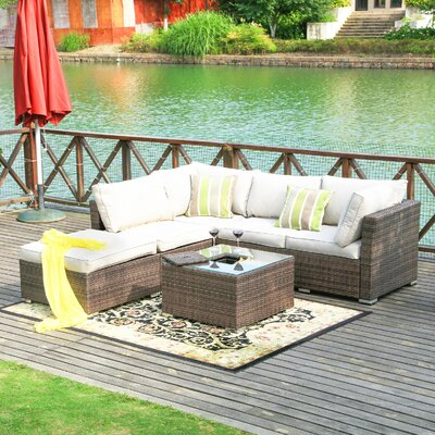 Atterberry 5 Piece Deep Seating Group with Cushion Finish: Mixed Brown