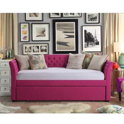Milligan Twin Daybed with Trundle Color: Pink