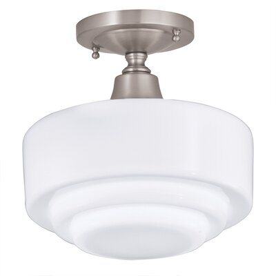 Fredericksen 1-Light Semi-Flush Mount Finish: Brushed Nickel