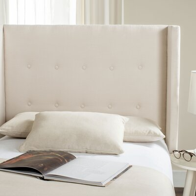 Yale Upholstered Wingback Headboard Size: Twin, Color: Beige