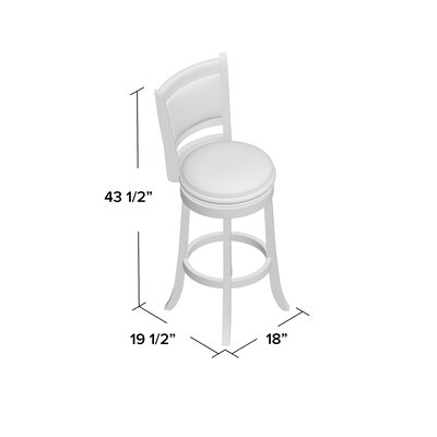 Goldenberg 29 Swivel Bar Stool Finish: Cherry, Upholstery: Black