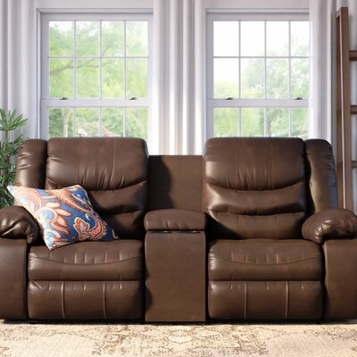 Summey Leather Reclining Sofa Type: Manual