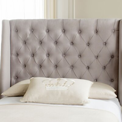 Trenton Upholstered Wingback Headboard Size: Twin, Upholstery: Taupe Linen