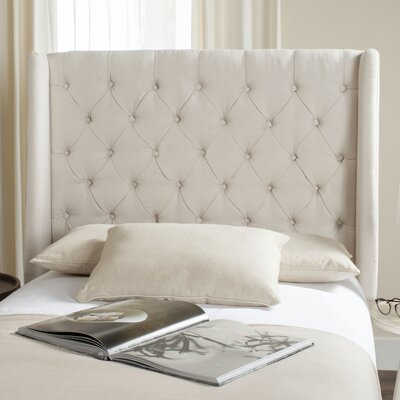 Trenton Upholstered Wingback Headboard Size: Twin, Upholstery: Light Gray