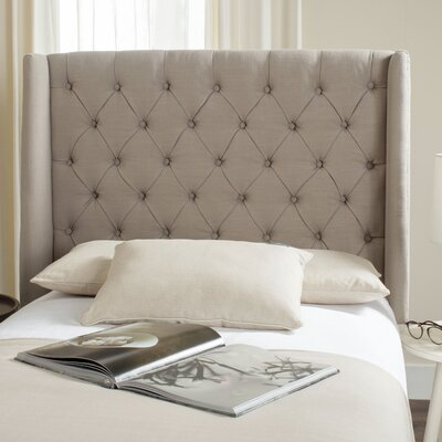 Trenton Upholstered Wingback Headboard Size: Twin, Upholstery: Taupe