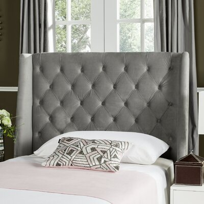Trenton Upholstered Wingback Headboard Size: Queen, Upholstery: Pewter