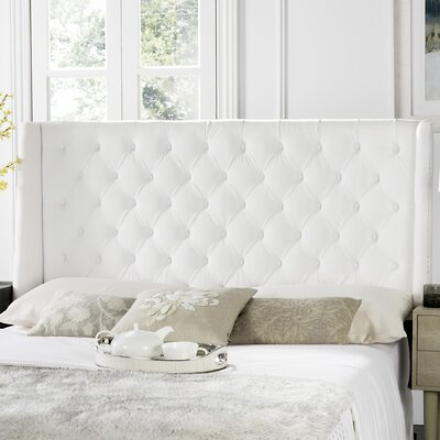 Trenton Upholstered Wingback Headboard Size: Queen, Upholstery: White