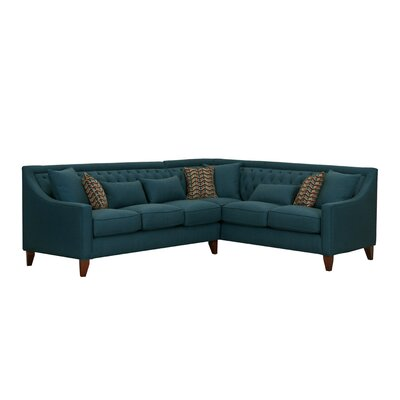 Zivah Solid L-Shaped Sectional Finish: Teal, Orientation: Left-Facing
