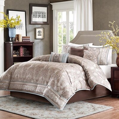 Stoneham 7 Piece Comforter Set Size: King, Color: Taupe