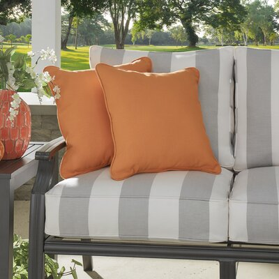 Basilia Outdoor Sunbrella Throw Pillow Size: 20 x 20, Fabric: Canvas Tangerine