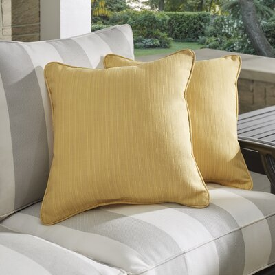 Baskerville Outdoor Sunbrella Throw Pillow Size: 18 x 18, Fabric: Dupione Cornsilk